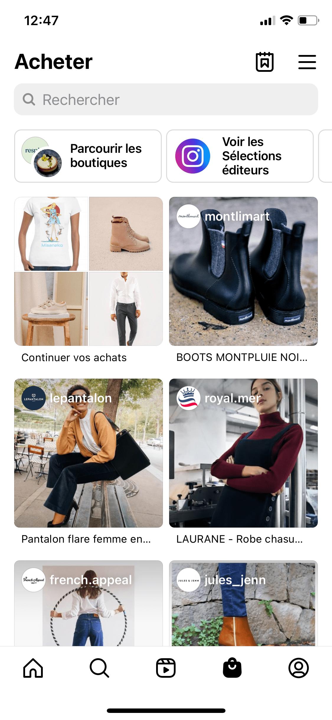 onglet shop instagram